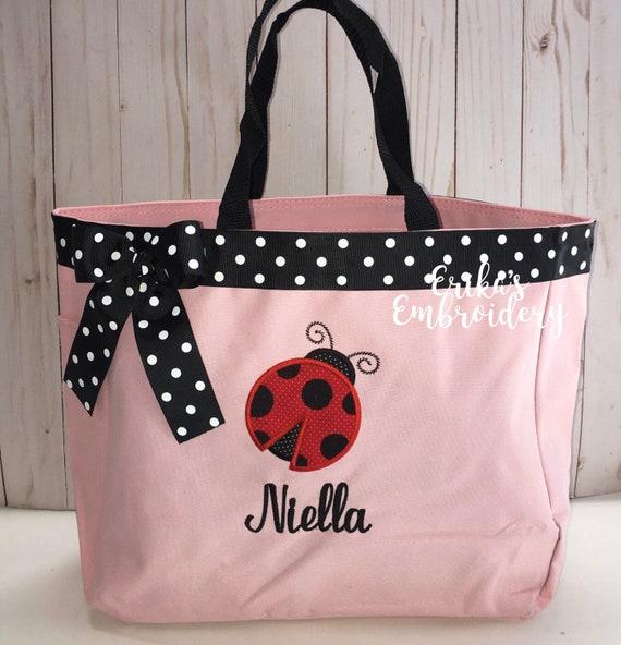 Personalized Ladybug Weekend Bag Grammy Ladybug Tote Bag diaper bag Ladybug Overnight Bag Grandma/'s house Ladybug Beach Bag