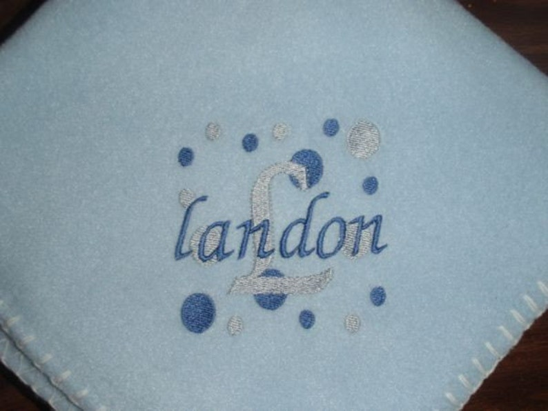 Personalized Dots Embroidered Baby Blanket
