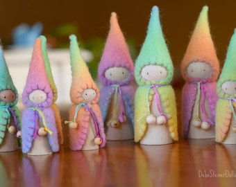 Waldorf Steiner inspired gnomes (6) Peg gnomes, peg dolls,Waldorf Steiner toys, Waldorf dolls,felt gnomes-Small world play Debs Steiner Doll