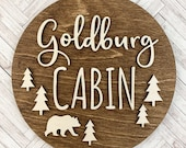 Custom Wood Family Cabin Sign, Personalized With Family Name, Cabin Wall Decor Sign