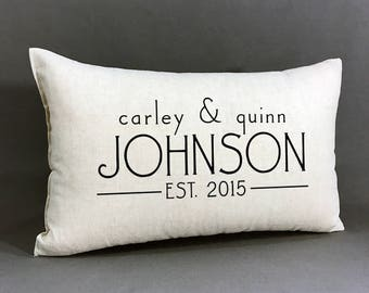 personalized name and established pillow, custom wedding or anniversary pillow, cotton linen personalized pillow