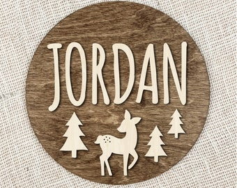 Custom Name Sign With Fawn, Round Wood Name Sign With Deer, Woodlands Nursery Name Plaque