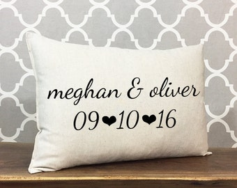 Personalized Wedding Home Decor Pillow, Linen Cotton Pillow, Anniversary Gift, Bridal Shower Gift, Personalized Pillow