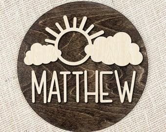Custom Name Wood Name Plaque, Kids Room Name Sign, Round Wood Personalized Name Sign, Sun And Cloud Sign