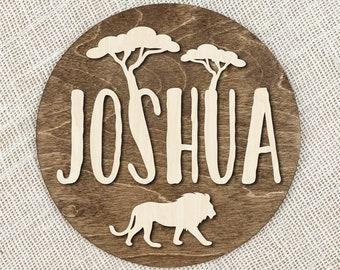 Custom Name Safari Sign With Lion, Personalized Wood Name Safari Plaque, Kids Name Sign