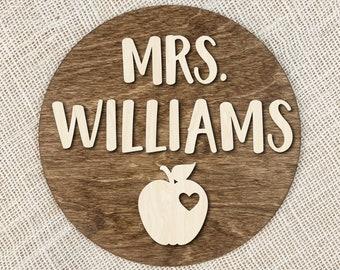 Custom Teacher Name Sign With Apple, Personalized Teacher Gift, Wood Teacher Sign, 3D Text Name Sign