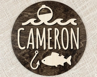 Custom Name Fishing Sign, Kids Name Wood Plaque, Wood Fishing Sign With 3D Text