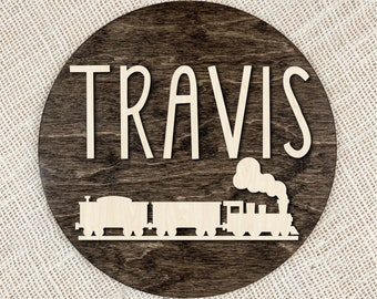 Name Sign With Train, Custom 3D Wood Sign, Personalized Train Sign, Train Nursery Decor, Custom Nursery Wall Decor