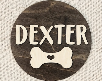 Custom Name Dog Sign With Bone And Heart, Personalized Wood Dog Sign, Dog Bone Puppy Sign