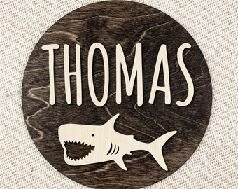 Custom Name Sign With Shark, Kids Room Name Sign, Round Wood Shark Name Sign, Personalized Baby Name Sign, Nursery Name Sign