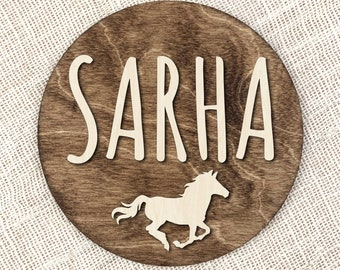 Personalized Name Horse Sign, Kids Room Name Plaque, Custom Name Nursery Sign