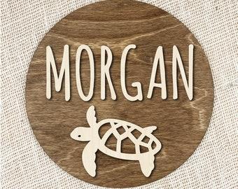 Custom Name Sign With Sea Turtle, Custom 3D Wood Sign, Personalized Turtle Sign, Sea Life Nursery Decor, Custom Baby Name Sign