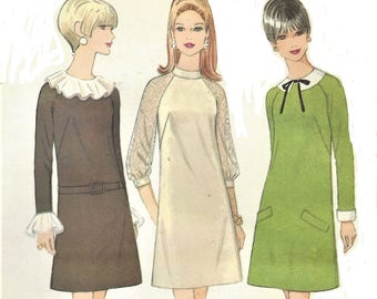 1960s Womens A Line Dress Four Versions Raglan Sleeves McCalls Sewing Pattern 9147 Size 14 Bust 36 UnCut Vintage Sewing Patterns