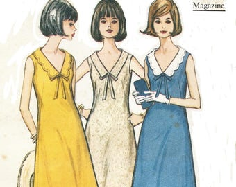 1960s Womens Fit and Flare Dress French Darts Sleeveless with Collar Variations McCalls Sewing Pattern 7655 Size 16 Bust 36 Vintage Patterns