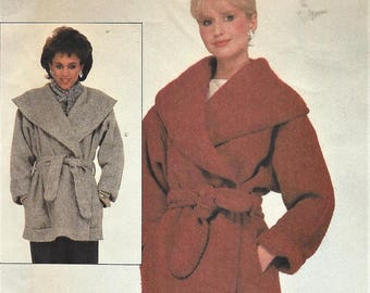 1980s Womens Wrap Coat or Jacket & Belt Wide Shawl Collar McCalls Sewing Pattern 8225 Size 18 20 Bust 40 42 UnCut Vintage Sewing Patterns
