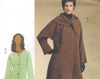 OOP Vogue Sewing Pattern V8545 Womens Lagenlook Jacket Uneven Hemline and Slim Pants Size 14 16 18 20 22 Bust 36 38 40 42 44 FF