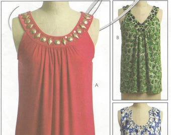Womens Summer Tunics or Tops Embellished with Jewel Stones OOP McCalls Sewing Pattern M5586 Size 4 6 8 10 12 Bust 29 1/2 to 34 UnCut