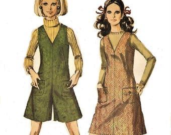 1960s Womens Mod Mini Jumper or Mini Pant Jumper V Neckline Romper Simplicity Sewing Pattern 7821 Size 12 Bust 34 Vintage Sewing Patterns