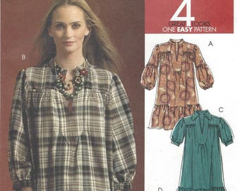 Womens Lagenlook Dress with Sleeve and Hem Variations OOP McCalls Sewing Pattern M5925 Size 6 8 10 12 14 Bust 30 1/2 to 36 UnCut