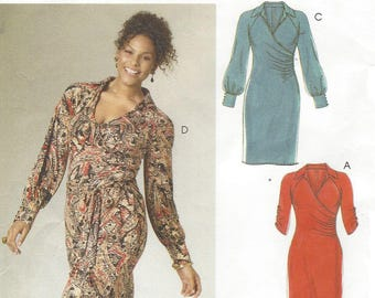 Full Figure Womens Mock Wrap Dress and Sash OOP McCalls Sewing Pattern  M6163 Size 18 20 22 24 Bust 40 42 44 46 Stretch Knits Only 25452ada7