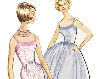 1960s Womens Bombshell Dress Wiggle or Rockabilly Skirt Camisole Bodice McCalls Sewing Pattern 5842 Size 16 Bust 36 Vintage Sewing Patterns