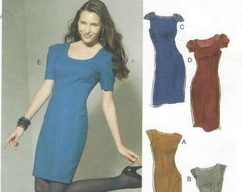 Womens Lined Sheath Dress with Sleeve Variations OOP McCalls Pattern M6201 Size 14 16 18 20 Bust 36 38 40 42 FF Summer Dress Patterns