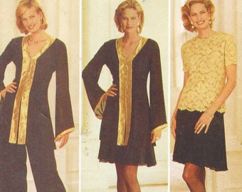 Long or Sleeveless Butterick Pattern 3801 Empire Waist SailorShawl Collar Nautical Dress Attached DickeyBib Slim Skirt /& Self Tie Belt