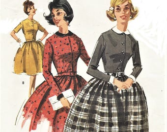 1960s Womens Rockabilly Dress Button Front Bodice and Full Skirt McCalls Sewing Pattern 6398 Size 14 Bust 34 Vintage Easy Sewing Patterns