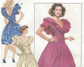 80s Morton Myles Womens Ruched & Ruffled Evening Dress Butterick Sewing Pattern 5946 Size 8 10 12 Bust 31 1/2 to 34 UnCut