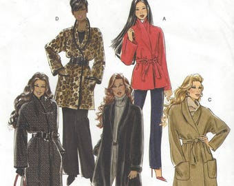 Womens Shawl Collar Wrap Coat or Jacket and Belt 3 Lengths OOP Butterick Sewing Pattern B5297 Size 14 16 18 20 Bust 36 38 40 42 UnCut
