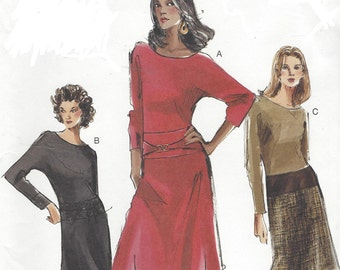 Womens Dolman Sleeve Dress Dropped Waist OOP Vogue Sewing Pattern 7775 Size 6 8 10 Bust 30 1/2 to 32 1/2 UnCut Sewing Patterns