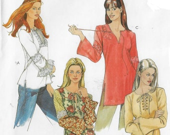 OOP McCalls Sewing Pattern 4080 Womens Boho Hippie Bias Tops in 2 Lengths Size 4 6 8 10 12 14 Bust 29 1/2 to 36 FF