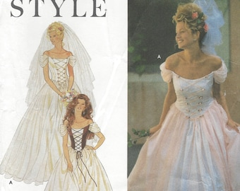 Womens Wedding Gown Corset Style Ballgown Off the Shoulder Simplicity Sewing Pattern 9163 Size 6 8 10 12 14 16 Bust 30 1/2 to 38 FF