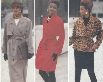 90s Womens Double Breasted Coat in 2 Lengths or Jacket and Pencil Skirt Butterick Sewing Pattern 6416 Size 18 20 22 Bust 40 42 44 FF
