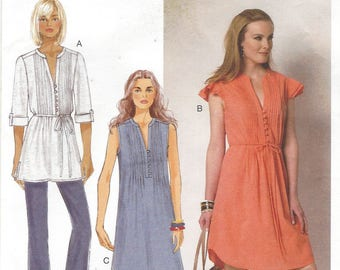 Womens Tucked Front Hippie Dress or Tunic and Belt Pullover Butterick Sewing Pattern B6208 Size 14 16 18 20 22 Bust 36 38 40 42 44 FF