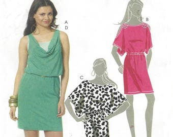 Womens Stretch Knit Dress Pullover & Camisole Cold Shoulder 2 Lengths OOP McCalls Sewing Pattern M6112 Size 4 6 8 10 12 Bust 29 1/2 to 34 FF