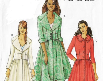 OOP Vogue Sewing Pattern V8211 Womens Waist Detail Coat with Variations Size 6 8 10 Bust 30 1/2 to 32 1/2 FF DIY Womens Clothing