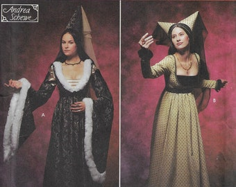 Simplicity Sewing Pattern 9058 Andrea Schewe Womens Renaissance Costumes and Hats Ren Faire Costumes Size 6 8 10 12 Bust 30 1/2 to 34 FF