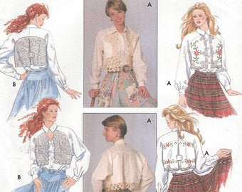 1990s Womens Western Blouse Raglan Sleeve Western Shirts with Lace Overlay Simplicity Sewing Pattern 8653 Size 12 14 16 Bust 34 36 38 FF
