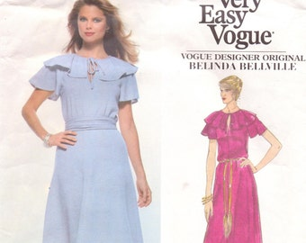 1970s Belinda Bellville Womens Ruffled Day or Evening Dress Vogue Sewing Pattern 1861 Size 14 Bust 36 UnCut Stretch Knits Only