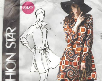 Fashion Star OOP McCalls Sewing Pattern M6600 Womens Pullover Dress and Belt Blouson Dress Size 16 18 20 22 24 Bust 38 40 42 44 46 FF