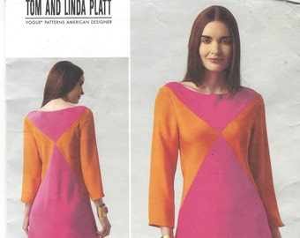 Tom and Linda Platt Womens Color Blocked Dress Bias Cut Vogue Sewing Pattern V1326 Size 16 18 20 22 24 Bust 38 40 42 44 46 UnCut