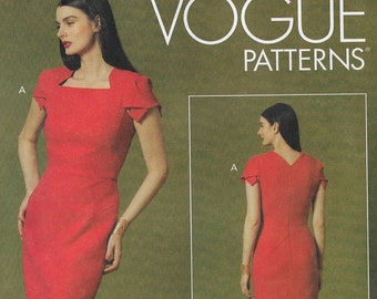 Womens Close Fitting Lined Dress Sleeve Variations Cup Size Adjust Vogue Sewing Pattern V1631 Size 6 8 10 12 14 Bust 30 1/2 to 36 FF