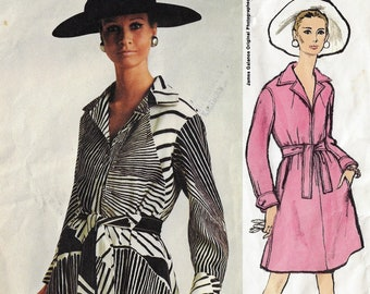 1960s Vogue Sewing Pattern 1946 James Galanos Womens Front Zipper Dress with Back Inverted Pleat Size 12 Bust 34 Vintage Vogue