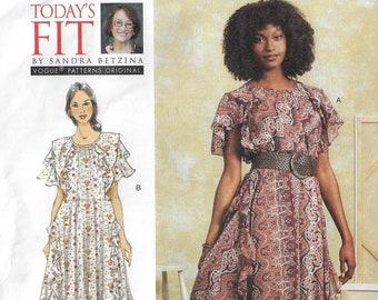 Sandra Betzina Womens Lagenlook Dress Pullover DIY Perfect Nap Dress Vogue Sewing Pattern V1612 Size 10 12 14 16 18 20 22 24 26 28 FF