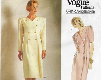 Vogue 1873 Pattern UNCUT 1970s or 80s Jean Muir Little Vogue Girl/'s Dress Neck Bow Tie Side Seam Pockets Long Short Sleeves Size 8 Breast 27