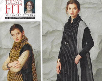 Sandra Betzina Womens Tabard with Contrast Panels Vogue Sewing Pattern V1569 Size 10 12 14 16 18 20 22 24 26 28 Bust 32 to 55 FF