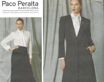 Paco Peralta Womens Ankle Length Jacket, Tie Blouse & Ankle Length Skirt Vogue Sewing Pattern V1527 Size 4 6 8 10 12 Bust 29 1/2 to 34 FF