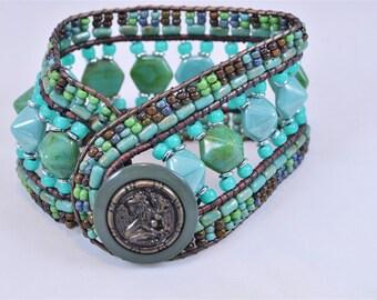Hand Beaded Leather Wrap Bracelet Vintage Button Glass Beads Boho Leather Wrap Bracelet Birthday or Hippie Wrap Bracelet for Her