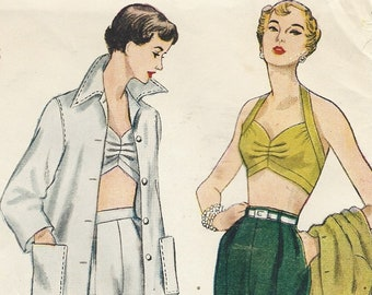 1950s Womens Jacket, Bra, Shorts & Pedal Pushers Simplicity Sewing Pattern 3250 Size 16 Bust 34 FF Vintage Rockabilly Pin Up Patterns